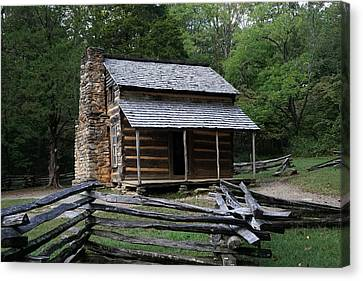 Cades Cabin Canvas Print by Laurie Perry