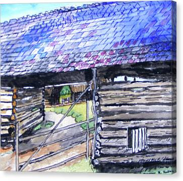 Cades Cove Cantilever Barn Canvas Print by Spencer Hudson