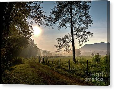 Canvas Print featuring the photograph Cades Cove Sunrise by Douglas Stucky