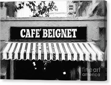 Cafe Beignet - Digital Painting Bw Canvas Print