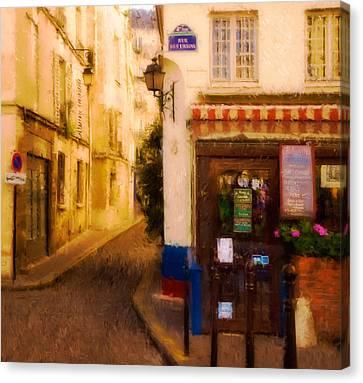 Cafe On The Rue Des Ursins Canvas Print by Mick Burkey