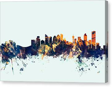 Calgary Canada Skyline Canvas Print by Michael Tompsett