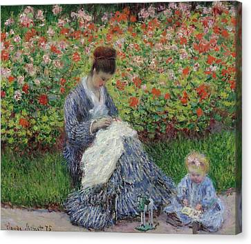 Camille Monet And A Child In The Garden At Argenteuil Canvas Print by Claude Monet