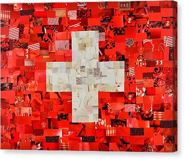 Swiss Flag Canvas Print by Claudia Di Paolo