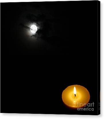 Candle Light Vs Moon Light Canvas Print by Celestial Images