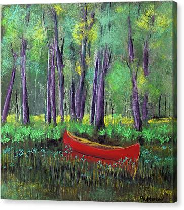 Canoe Among The Reeds Canvas Print by David Patterson
