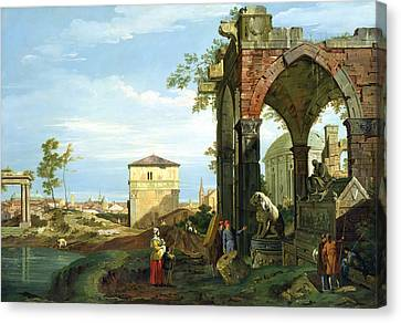 Capriccio With Motifs From Padua Canvas Print by Canaletto