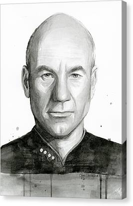 Science Fiction Canvas Print - Captain Picard by Olga Shvartsur
