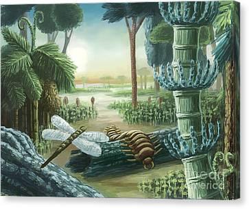 Meganeura Canvas Print - Carboniferous Landscape, Artwork by Spencer Sutton