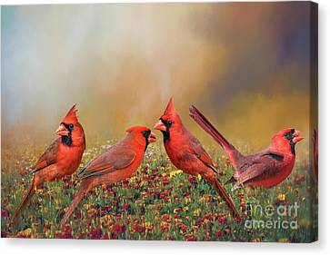 Canvas Print featuring the photograph Cardinal Quartet by Bonnie Barry