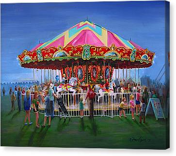 Carousel At Dusk Canvas Print by Oz Freedgood
