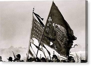 War Torn Flag Canvas Print - Carrying Their Colors - Bw by Linda Allasia