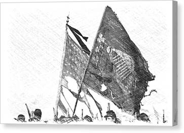 War Torn Flag Canvas Print - Carrying Their Colors - Sketch by Linda Allasia