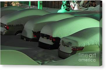 Cars Covered In Snow Canvas Print by Ben Schumin