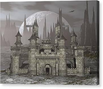Castle By Night - 3d Render Canvas Print by Elenarts - Elena Duvernay Digital Art