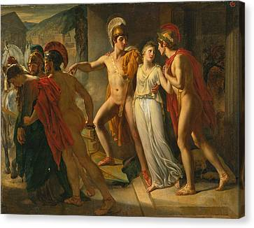 Canvas Print featuring the painting Castor And Pollux Rescuing Helen by Jean-Bruno Gassies