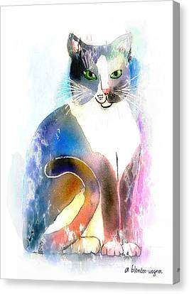 Canvas Print featuring the mixed media Cat Of Many Colors by Arline Wagner