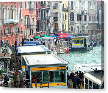 Catching The Ferry In Venice Canvas Print by Mindy Newman