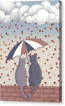 Canvas Print featuring the mixed media Cats In Love by Anne Gifford