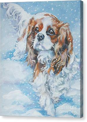 Cavalier King Charles Spaniel Blenheim In Snow Canvas Print