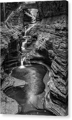 Canvas Print featuring the photograph Rainbow Falls Watkins Glen State Park Bw by Susan Candelario