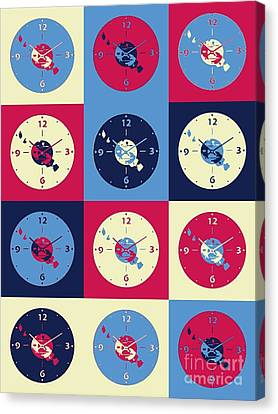 Cds Music Clock Canvas Print by Victor Arriaga