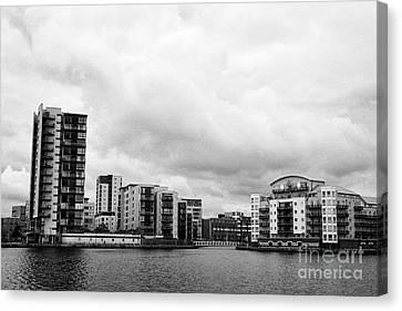celestia and adventurers quay luxury apartment buildings on roath basin on overcast day Cardiff bay  Canvas Print by Joe Fox