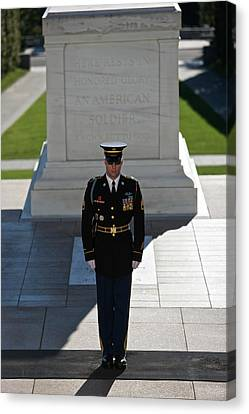 Changing Of Guard At Arlington National Canvas Print by Terry Moore