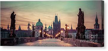 Charles Bridge At Sunrise, Prague, Czech Republic. Dramatic Statues And Medieval Towers. Canvas Print