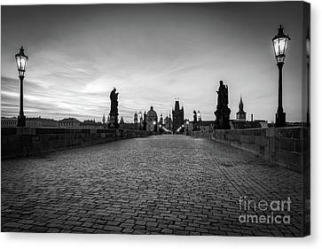 Charles Bridge At Sunrise, Prague, Czech Republic. Statues, Medieval Towers In Black And White Canvas Print