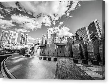 Charlotte North Carolina Black And White Photo Canvas Print by Paul Velgos