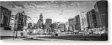 Charlotte Skyline Black And White Panorama Photo Canvas Print by Paul Velgos