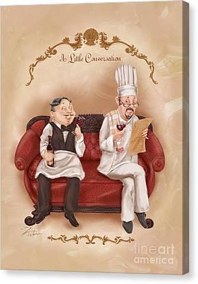 Chefs On A Break-a Little Conversation Canvas Print by Shari Warren