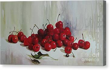 Canvas Print featuring the painting Cherries by Elena Oleniuc