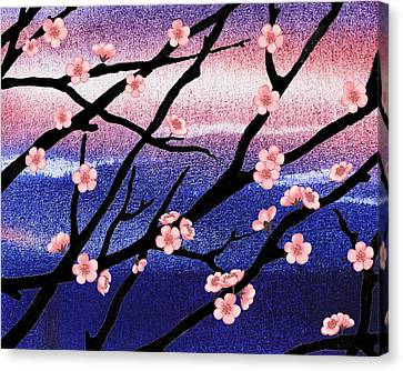 Cherry Blossoms Flowers Woods Path Trees 5 Panel Canvas Print Wall Art Poster