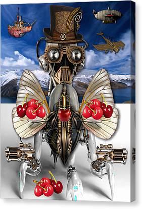 Cherry Robot Art Canvas Print