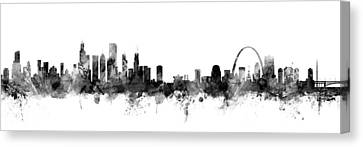 Chicago And St Louis Skyline Mashup Canvas Print