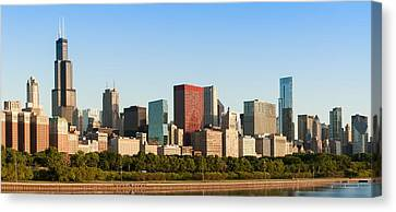 Chicago Downtown At Sunrise Canvas Print by Semmick Photo