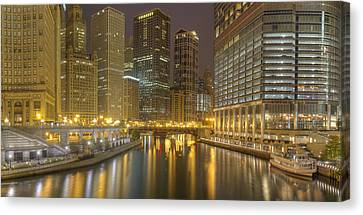 Chicago River At Night Canvas Print by Twenty Two North Photography