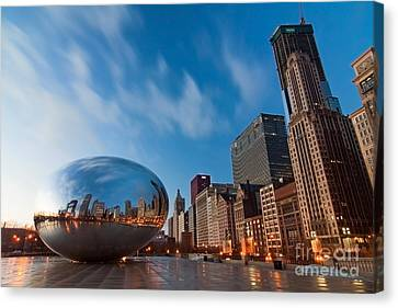 Chicago Skyline Canvas Print - Chicago Skyline And Bean At Sunrise by Sven Brogren