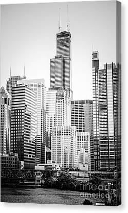 Chicago River Canvas Print - Chicago With Sears Willis Tower In Black And White by Paul Velgos