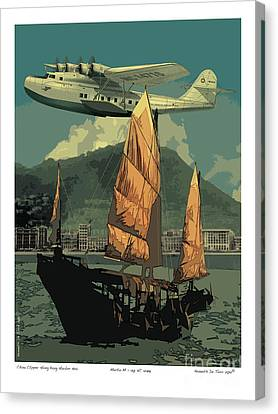 Canvas Print featuring the drawing China Clipper by Kenneth De Tore