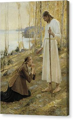 Christ And Mary Magdalene, A Finnish Legend Canvas Print by Albert Edelfelt