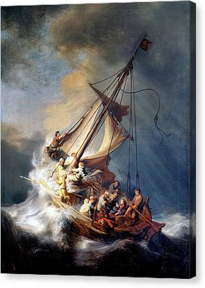 Christ And The Storm Canvas Print