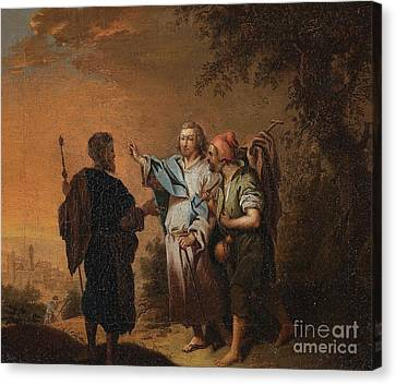 Christ On The Road To Emmaus Canvas Print by Celestial Images