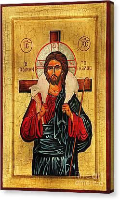 Christ The Good Shepherd Canvas Print by Ryszard Sleczka