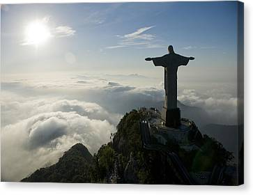 Aerial View Canvas Print - Christ The Redeemer Statue At Sunrise by Joel Sartore