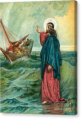 Christ Walking On The Sea Canvas Print by English School
