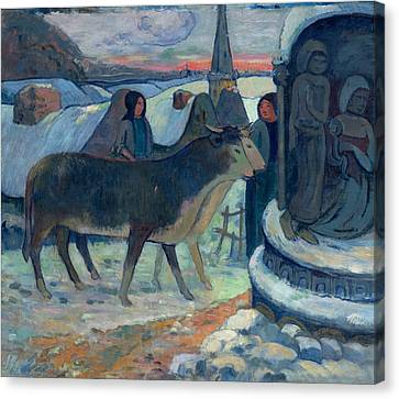Christmas Night The Blessing Of The Oxen Canvas Print by Paul Gauguin