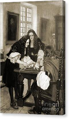 Christopher Wren Injects Drugs Canvas Print by Wellcome Images